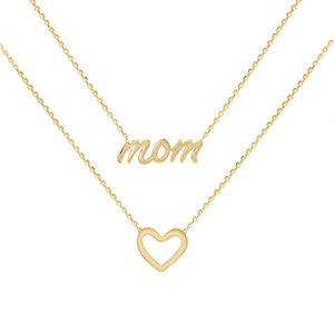 14K Gold Mom X Open Heart Necklace 14K - Adina's Jewels