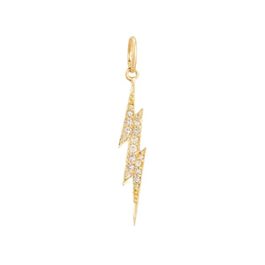 Diamond Lightning Bolt Charm 14K 14K Gold - Adina's Jewels