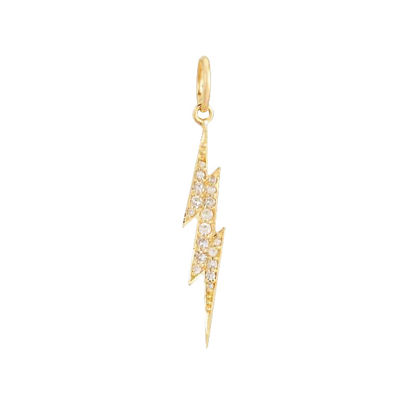 14K Gold Diamond Lightning Bolt Charm 14K - Adina's Jewels