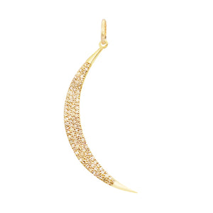 14K Gold Diamond Crescent Charm 14K - Adina's Jewels