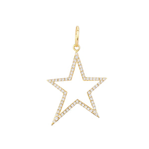 14K Gold Diamond Open Star Charm 14K - Adina's Jewels
