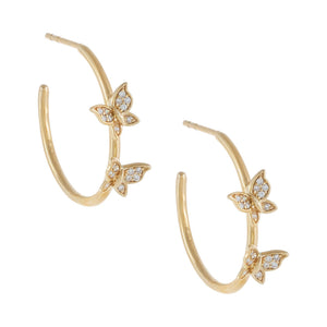 Diamond Double Butterfly Hoop Earring 14K 14K Gold - Adina's Jewels
