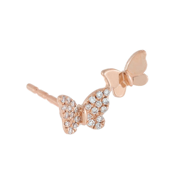Diamond X Solid Butterfly Stud Earring 14K 14K Rose Gold - Adina's Jewels
