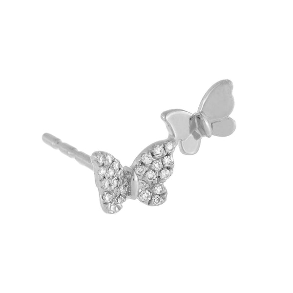 Diamond X Solid Butterfly Stud Earring 14K 14K White Gold - Adina's Jewels