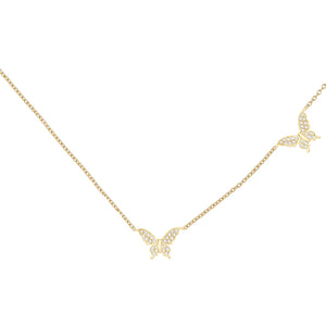 Diamond Double Butterfly Necklace 14K 14K Gold - Adina's Jewels