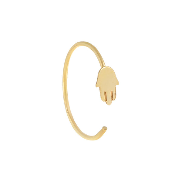 Mini Hamsa Threader Hoop Earring 14K