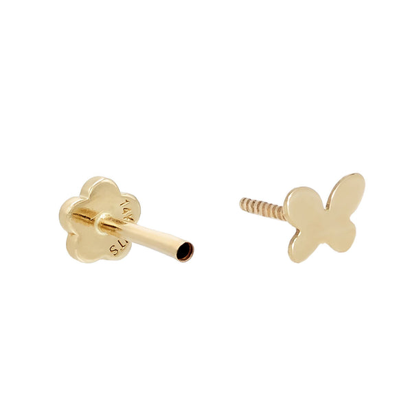 Butterfly Threaded Stud Earring 14K