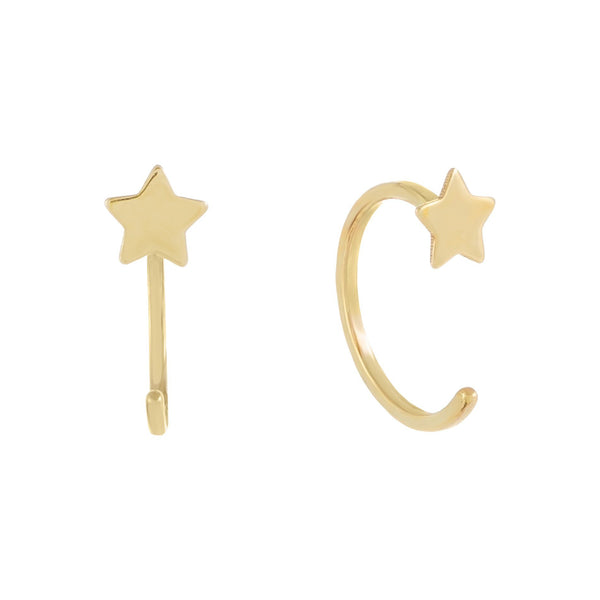 Mini Solid Star Threader Hoop Earring 14K