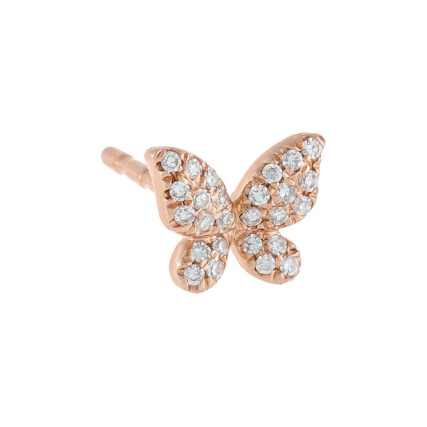 Diamond Mini Butterfly Stud Earring 14K 14K Rose Gold / Single - Adina's Jewels