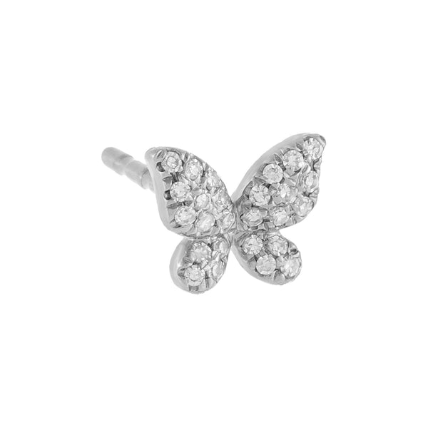 Diamond Mini Butterfly Stud Earring 14K 14K White Gold / Single - Adina's Jewels
