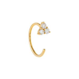 Diamond Cluster Ear Threader Hoop 14K 14K Gold - Adina's Jewels