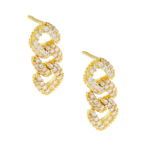 XS Pavé Chain Link Drop Earring Gold / 3 Links - Adina's Jewels