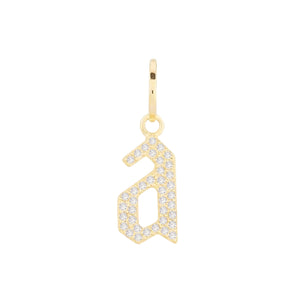 14K Gold / Single Diamond Gothic Lowercase Initial Charm 14K - Adina's Jewels