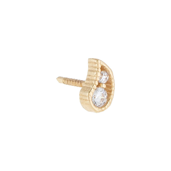 CZ Paisley Threaded Stud Earring 14K