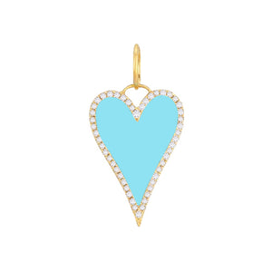 Turquoise Diamond Enamel Heart Charm 14K - Adina's Jewels