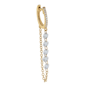 14K Gold / Single Floating Diamond Drop Chain Huggie Earring 14K - Adina's Jewels