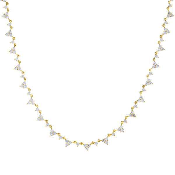 CZ Cluster Necklace Gold - Adina's Jewels