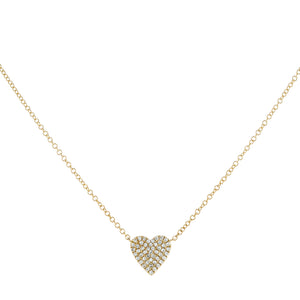 Diamond Medium Heart Necklace 14K 14K Gold - Adina's Jewels