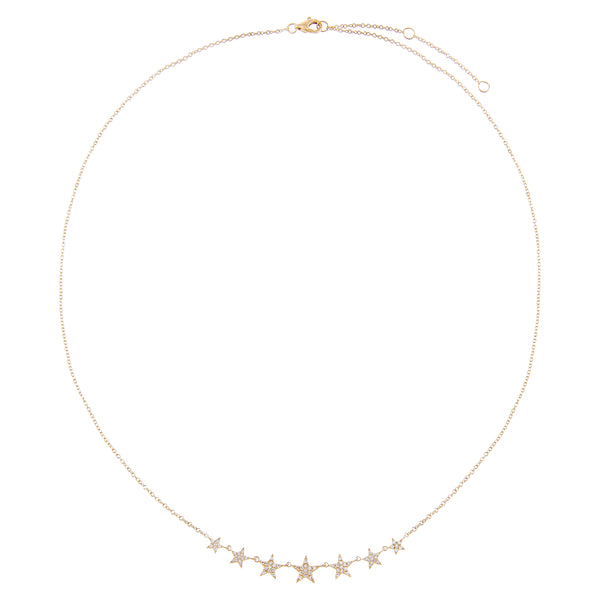 Diamond Stars Necklace 14K  - Adina's Jewels