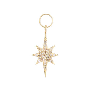 14K Gold Diamond Starburst Charm 14K - Adina's Jewels
