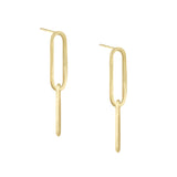 Marquise Dangling Chain Stud Earring 14K 14K Gold / Pair - Adina's Jewels