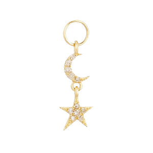 Diamond Celestial Charm 14K 14K Gold / Single - Adina's Jewels