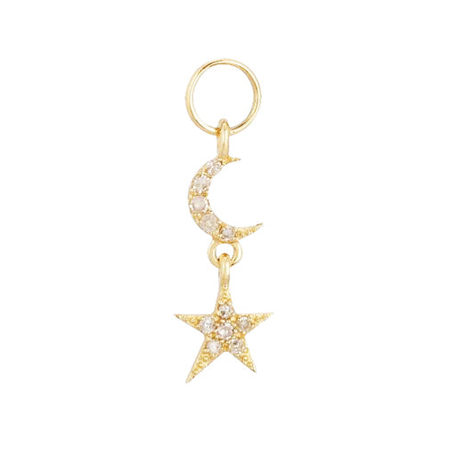 14K Gold / Single Diamond Celestial Charm 14K - Adina's Jewels