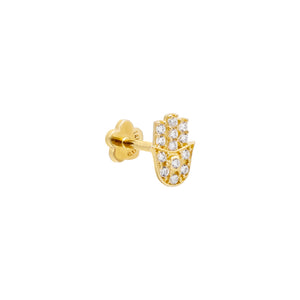 CZ Hamsa Threaded Stud Earring 14K 14K Gold / Single - Adina's Jewels