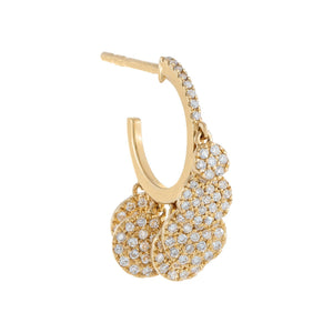 Diamond Dangling Discs Hoop Earring 14K 14K Gold - Adina's Jewels