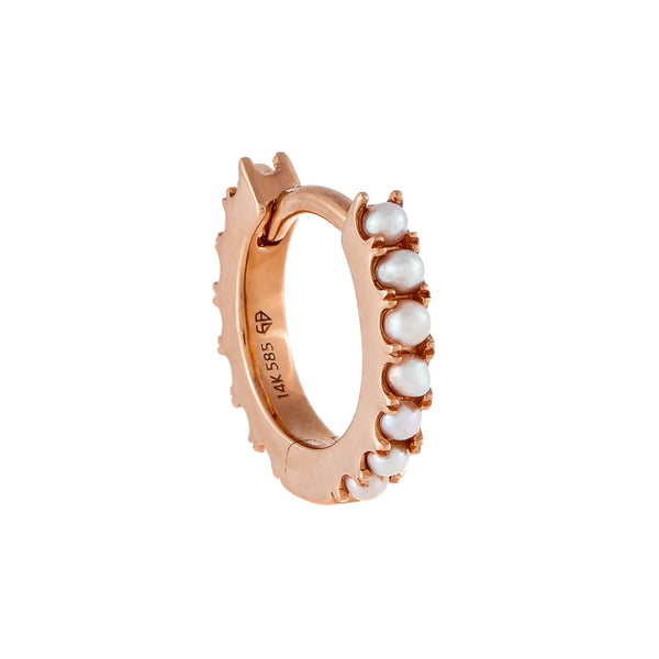 Pearl Huggie Earring 14K 14K Rose Gold - Adina's Jewels