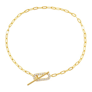 Pavé Link Toggle Bracelet Gold - Adina's Jewels
