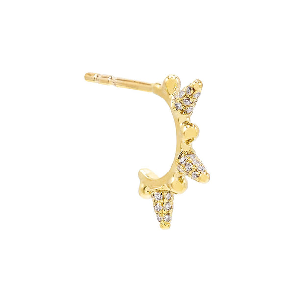 14K Gold / Single Diamond Spike Hoop Earring 14K - Adina's Jewels