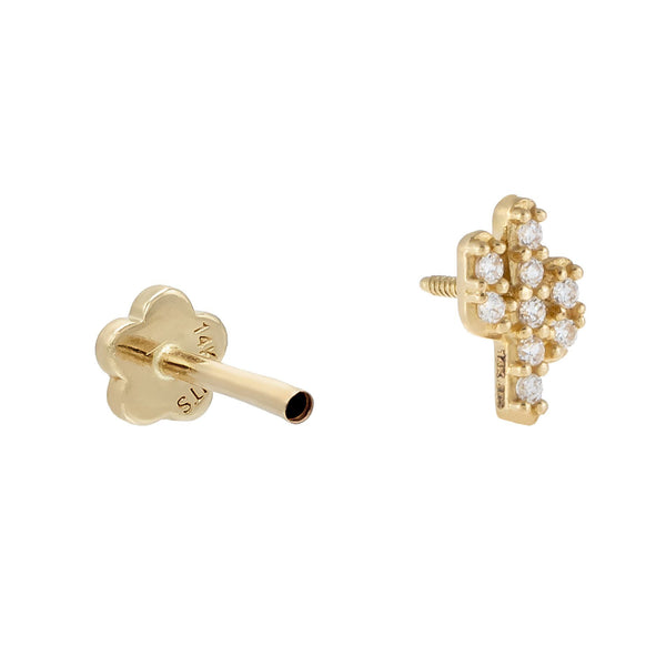 Pavé Cactus Threader Stud Earring 14K - Adina's Jewels