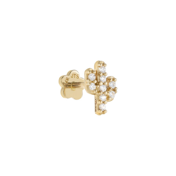 14K Gold Pavé Cactus Threader Stud Earring 14K - Adina's Jewels