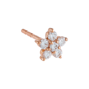 14K Rose Gold / Single Diamond 5 Petal Flower Stud Earring 14K - Adina's Jewels