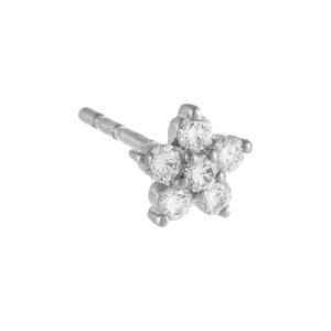 14K White Gold / Single Diamond 5 Petal Flower Stud Earring 14K - Adina's Jewels