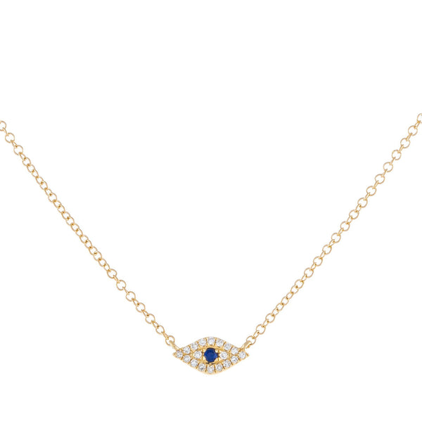 Sapphire Blue Diamond Evil Eye Choker 14K - Adina's Jewels