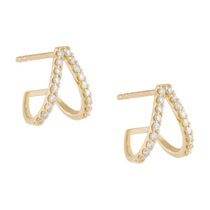 Diamond Double Huggie Stud Earring 14K 14K Gold / Pair - Adina's Jewels
