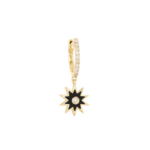 Diamond Enamel Starburst Huggie Earring 14K 14K Gold / Single - Adina's Jewels