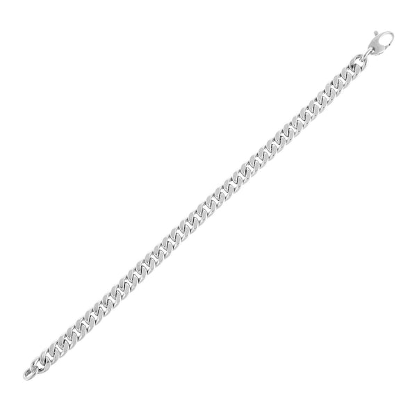 14K White Gold Miami Cuban Link Bracelet 14K - Adina's Jewels