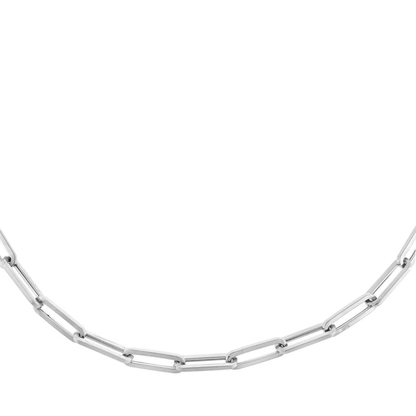 "14K White Gold / 16"" Paperclip Chain Necklace 14K - Adina's Jewels"