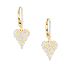 Diamond Heart Huggie Earring 14K 14K Gold / Pair - Adina's Jewels