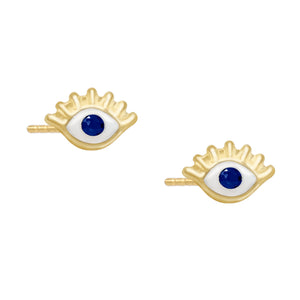 Enamel Eye Stud Earring 14K 14K Gold / Pair - Adina's Jewels