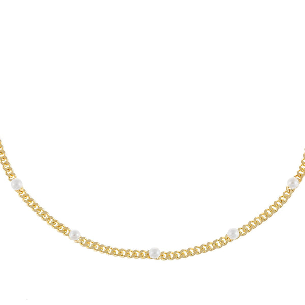 Pearl White Pearl Embedded Cuban Chain Choker - Adina's Jewels