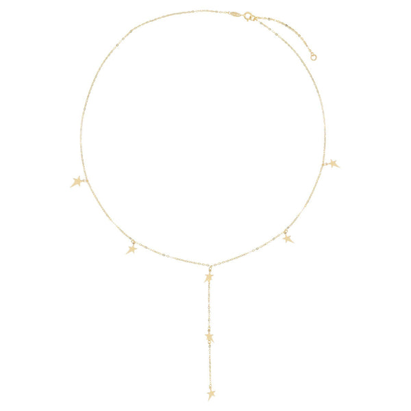 Multi Stars Lariat Necklace 14K - Adina's Jewels