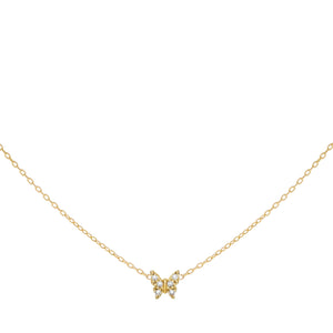 CZ Butterfly Necklace 14K 14K Gold - Adina's Jewels