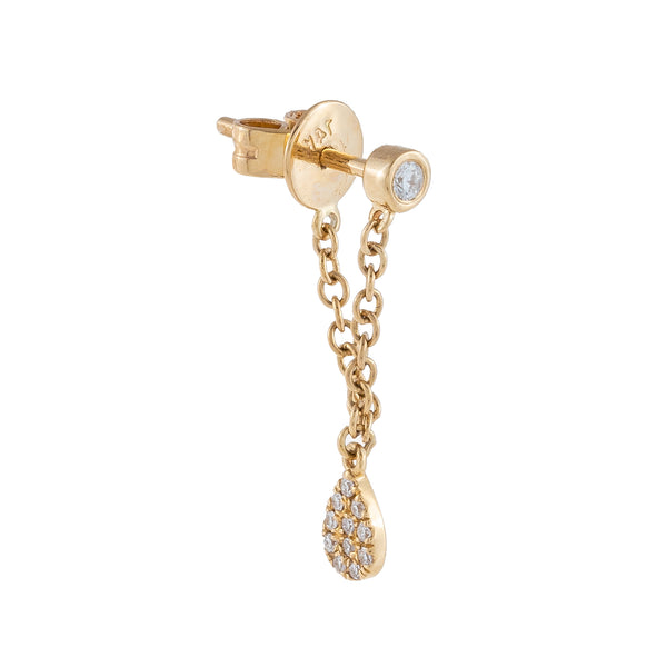 Diamond Teardrop Chain Stud Earring 14K 14K Gold - Adina's Jewels
