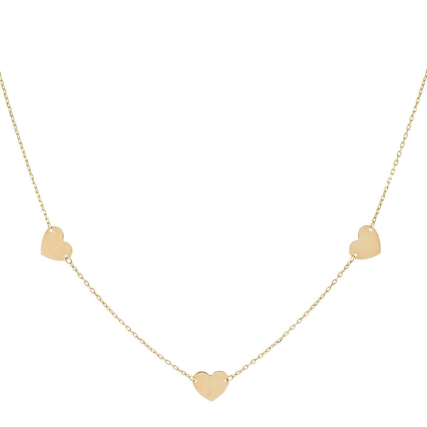 14K Gold Solid Hearts Necklace 14K - Adina's Jewels