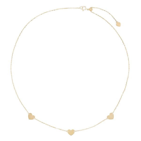Solid Hearts Necklace 14K - Adina's Jewels