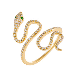 Diamond Snake Wrap Ring 14K 14K Gold - Adina's Jewels